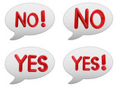 "Set of messenger window icon. 3d Red text "" YES"" and "" NO"" — Stock Photo"
