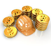 Gold coin ctack around hard hat on a white background  — Stock Photo