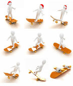 Set of 3d white person with a skate and a cap. 3d image on a whi — Stock Photo