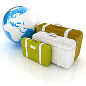 Travel bags and earth on white  — Stock Photo