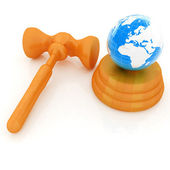 Wooden gavel and earth isolated on white background. Global auct — Stock Photo