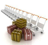 Trolleys for luggages at the airport and luggages  — Stock Photo