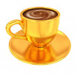Gold coffee cup on saucer on a white background — Stock Photo #47873021