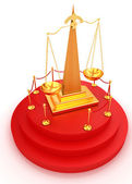 Gold scales of justice on 3d carpeting podium with gold handrail — Stock Photo