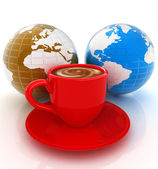 Mug of coffee with milk. Global concept with Earth — Stock Photo