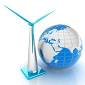 Wind turbine isolated on white. Global concept with eart — Stock Photo