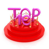 Top ten icon on white background. 3d rendered image  — Stok fotoğraf