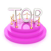 Top icon on podium on white background. 3d rendered image  — Stok fotoğraf