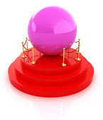 Glossy pink ball on podium on a white background  — Stock Photo