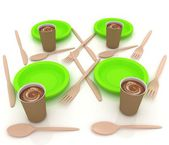 Coffe in fast-food disposable tableware — Stok fotoğraf
