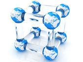Abstract molecule model of the Earth — Stock Photo