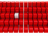 One individuality white cube among the red cubes — Stock Photo