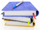 Pen on notepads stack — Stockfoto