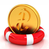 Coin dollar on  lifeline — Stock Photo