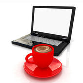 3d cup and a laptop — Foto Stock