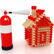 Red fire extinguisher and log house from matches pattern — Stock Photo #49612135