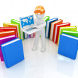 3d man in hard hat working at his laptop and books  — Stock Photo #49613849