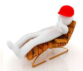 3d white man lying wooden chair with thumb up — ストック写真
