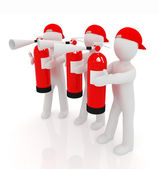 3d mans with red fire extinguisher  — Stock Photo