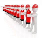 3d mans in hardhat with red fire extinguisher  — Foto Stock