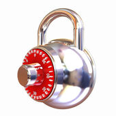 Illustration of security concept with chrome locked combination  — Stock Photo