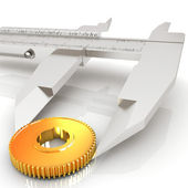 Vernier caliper measures the cogwheel  — Stock Photo