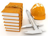 Vernier caliper, leather books and yellow hard hat  — Stock Photo