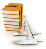 Vernier caliper and leather professional books. Best professiona — Stock Photo
