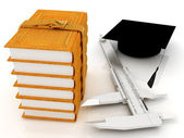 Vernier caliper, books and graduation hat. The best professional — Stock Photo
