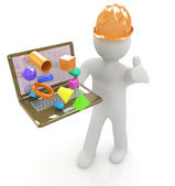 3D small people - an engineer with the laptop presents 3D capabi — Stock Photo