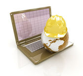 Hard hat and earth on a laptop  — Stock Photo