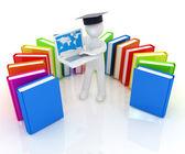 毕业帽工作在他的手提电脑和书籍的 3d 男人 — 图库照片