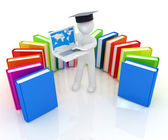 3d man in graduation hat working at his laptop and books  — Stok fotoğraf