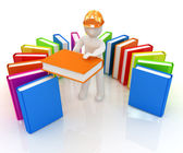 3d white man in a hard hat with best technical literature  — Stock Photo