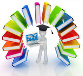 Colorful books like the rainbow and 3d man in a graduation hat w — 图库照片