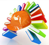 Colorful books like the rainbow and hard hat  — Stock Photo