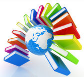 Colorful books like the rainbow and earth  — Stock Photo