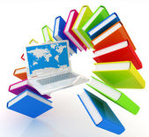 Laptop and books flying  — Foto Stock