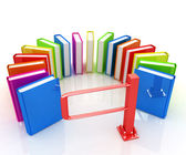 Colorful books in a semicircle and tourniquet to control. The co — Stock Photo