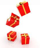 Presentes de Natal brilhante sobre um fundo branco — Fotografia Stock