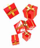 яркие рождественские подарки на белом фоне — Стоковое фото