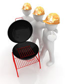 3d mans in a hard hat with thumb up and barbecue grill — Stock Photo