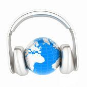 Abstracte 3d illustratie van aarde luisteren muziek — Stockfoto