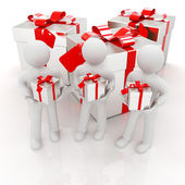3d mans and gifts with red ribbon — Stock Photo