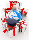 Graduation hat and gifts with earth — Stock Photo