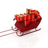 Christmas Santa sledge with gifts — Stock Photo