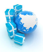 Traditional Christmas gifts and earth. Global holiday concept  — Stock Photo