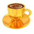 Gold coffee cup on saucer on a white background — Stock Photo #50312023