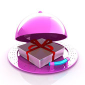 Illustration of a luxury gift on restaurant cloche on a white ba — Stock Photo