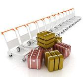 空港で荷物の荷物のトロリー — ストック写真